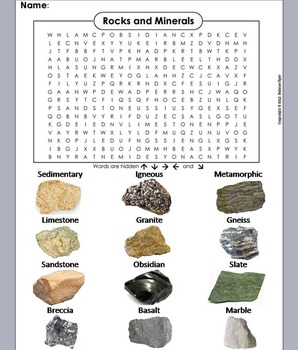 Rocks and Minerals Word Search/ Types of Rocks Word Search