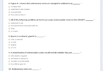 Rocks and Minerals Chapter Test in Google Forms