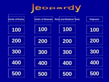 Rocks and Minerals Jeopardy