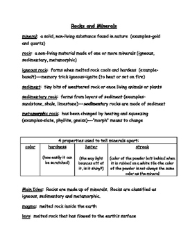 Rocks and Minerals Notes, Study Guide, Test Review 3rd Gra