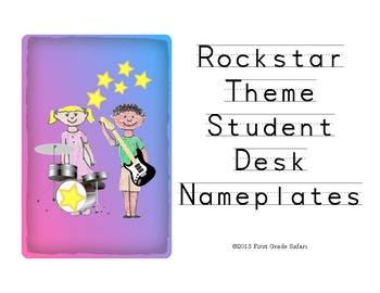 Rockstar Theme Student Desk Nameplates