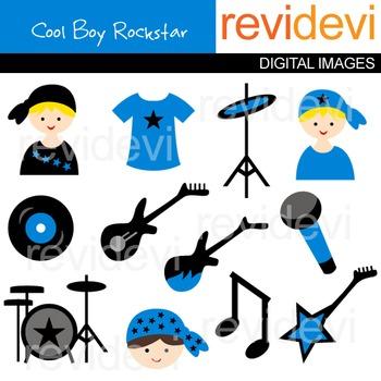 Rockstar clip art (boys, blue, music instruments, guitar, drum)