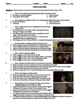 Rocky Film (1976) 15-Question Multiple Choice Quiz