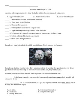 Rocky Intertidal Zone Quiz