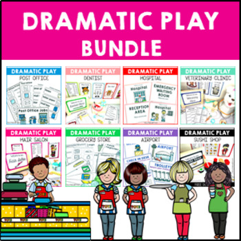 Role Play Pack Bundle Dramatic Play for Post Office Supermarket Hospital Airport