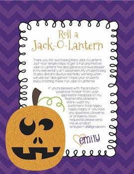 Roll A Jack-O-Lantern Halloween Dice Game