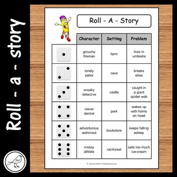 Roll A Story - character, setting, problem.  9 cards plus