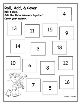 Roll, Add, & Cover Spring Math Center (Adding 3 Numbers)