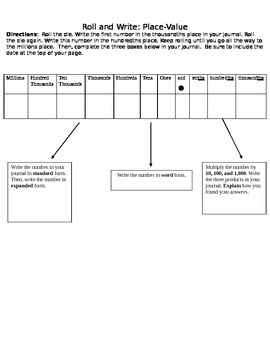 Roll-And-Write Place-Value Strategy Game Template