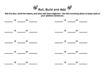 Roll, Build and Add Math Station/Center Game Recording Sheet