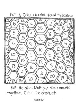 ****FREE**** Roll & Color:  6 Sided Dice Multiplication