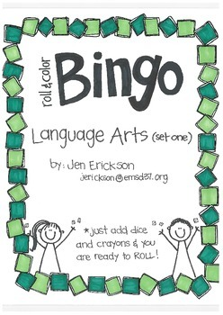 Roll & Color BINGO: Language Arts (set 1)