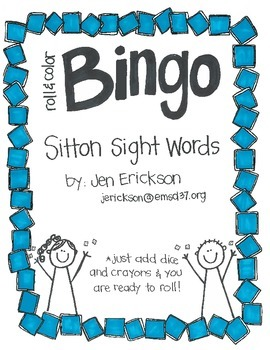 Roll & Color BINGO: Sitton Sight Words