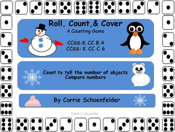 Roll Count Cover Winter Partner Game Snowmen CCSS K.CC.B4