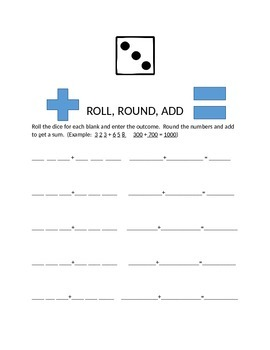 Roll Dice, Round and Add game