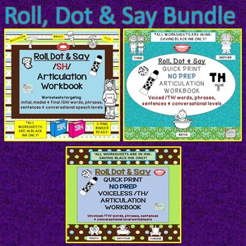 ROLL, DOT & SAY Articulation Workbook Bundle: VL /TH/, Voi