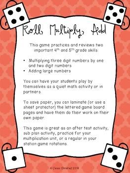 Roll, Multiply, Add Game - upper grades multiplication pra