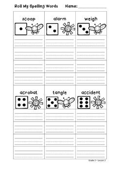 Roll My Spelling Words - Grade 2 Lesson 2 { freebie }