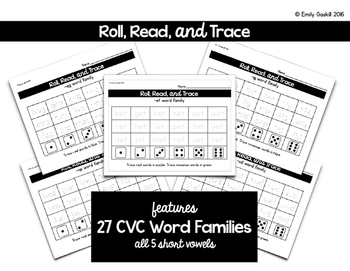 Roll, Read, Trace CVC Word Families