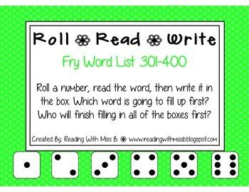 Roll Read Write --> (301-400 Fry List Sight Words/High Fre