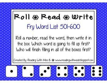 Roll Read Write --> (501-600 Fry List Sight Words/High Fre