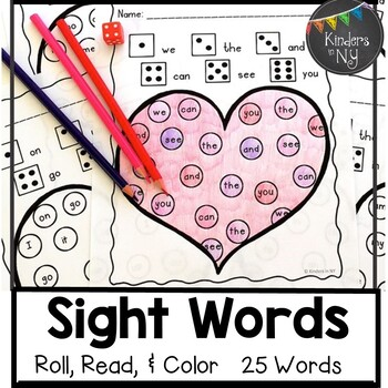 Roll, Read, and Color: Valentine's Day; F&P High Frequency