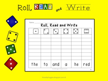 Word Work - Roll, Read and Write - Dolch Sight Words