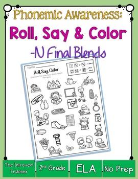 Roll, Say & Color { final consonant blends phonemic awaren