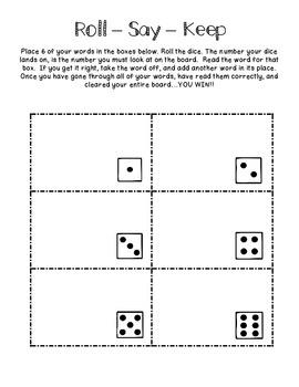 Freebie: Roll - Say - Keep (Spelling/Word Study/Sight Word