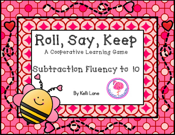 Roll, Say, Keep Subtraction Fluency To 10