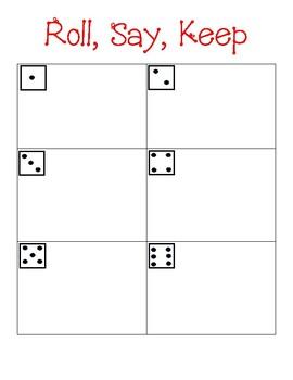 Roll, Say, Keep math boards