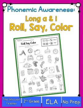 Roll, Say & color {long a & i phonemic awareness printable}