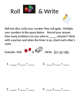 Roll & Write -  Double Digit x Double Digit