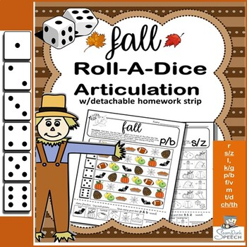 Roll-a-Dice FALL/AUTUMN Articulation: NO PREP Worksheets w
