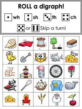 Phonemic Awareness: Roll a Digraph- A Consonant Digraph Game