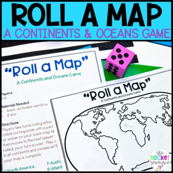 """Roll a Map""  Continents and Oceans Game"
