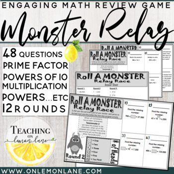 Roll a Monster Multiplication Review Dice Game (Prime Fact