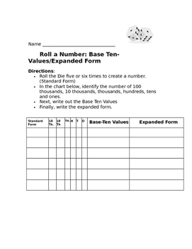 Roll a Number: Base Ten Values