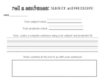 Roll a Sentence: Subject - Predicate Dice Roll with Record