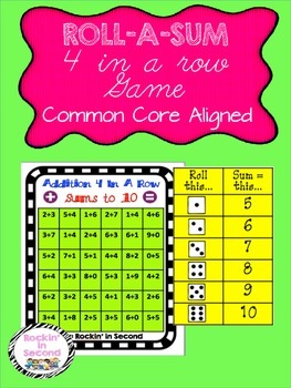 Roll-a-Sum 4 In A Row Sums to up to 10 Game Common Core