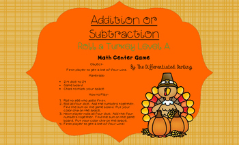 Roll a Turkey Addition Level A