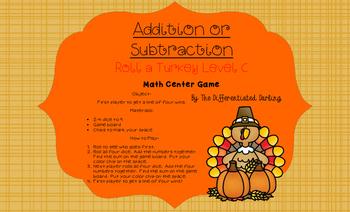 Roll a Turkey Game Board C