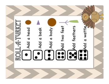 Roll a Turkey, Thanksgiving/Fall Activity, Literacy Centre