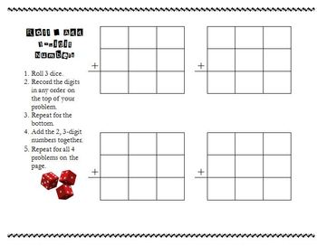 Roll and Add 3 Digit Numbers Basic Game