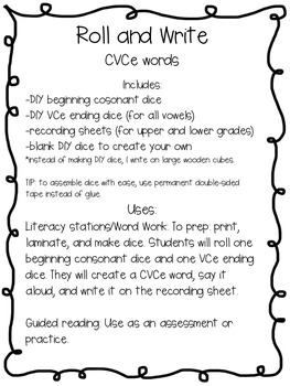 Roll and Write CVCe Words