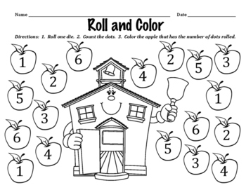 Roll and Color - Activity to Identify Dots on Dice and the