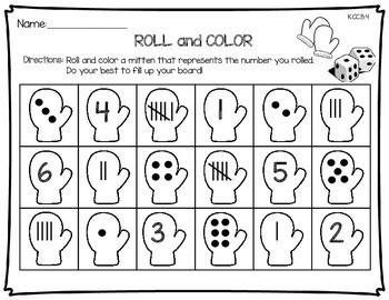 Roll and Color - Mittens