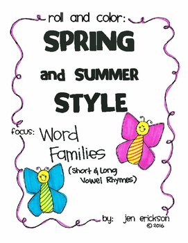 Roll and Color SPRING AND SUMMER STYLE:  Word Families