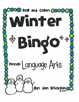Roll and Color WINTER BINGO:  Language Arts