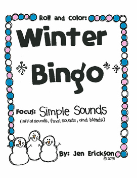 Roll and Color WINTER BINGO:  Simple Sounds